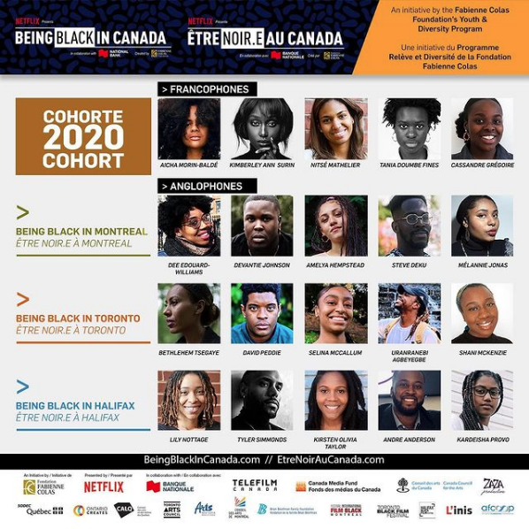 Being Black in Canada's 2020 Cohort, featuring the program's participants and sponsors of the initiative.